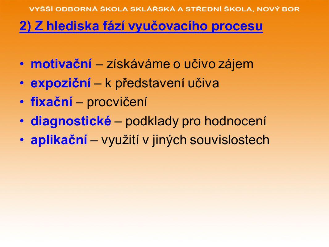 2) Z hlediska fází vyučovacího procesu