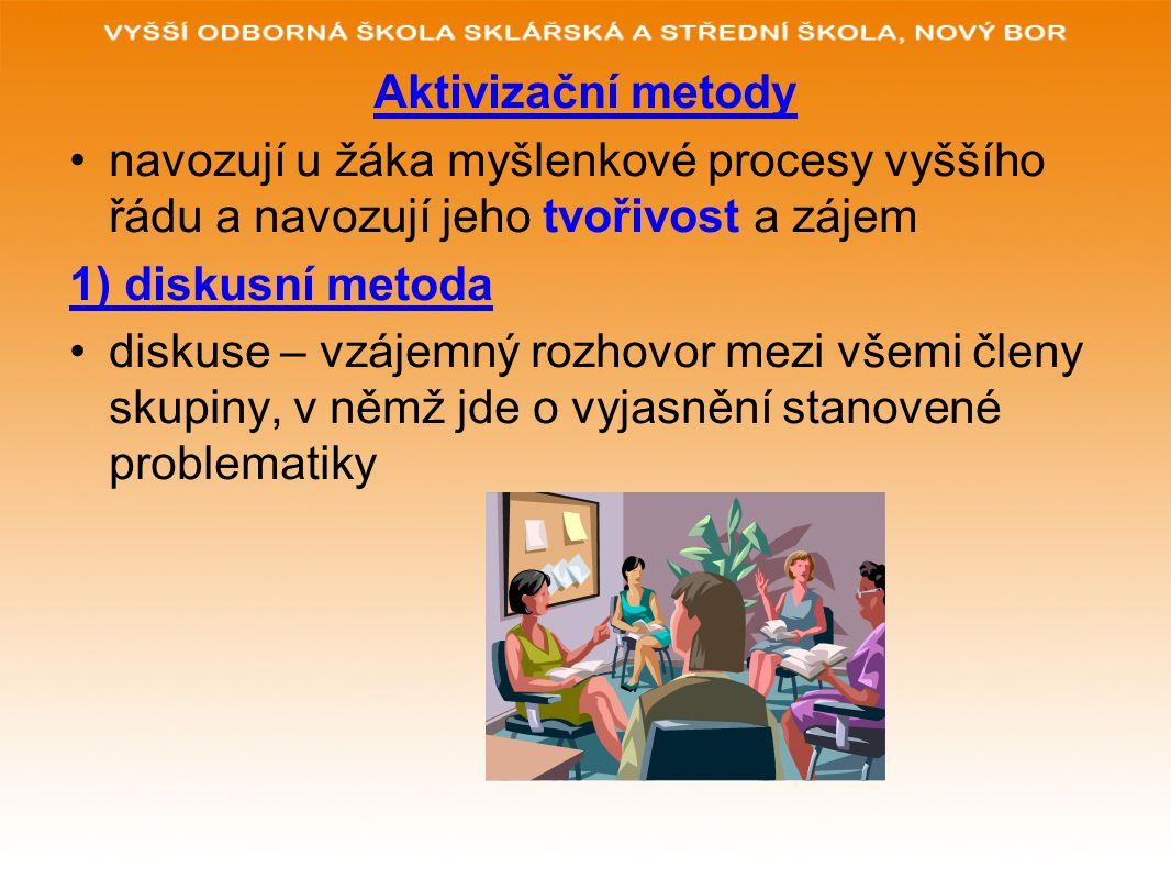 Aktivizační metody navozují u žáka myšlenkové procesy vyššího řádu a navozují jeho tvořivost a zájem.