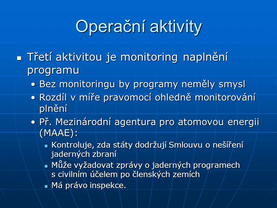 Operační aktivity Třetí aktivitou je monitoring naplnění programu
