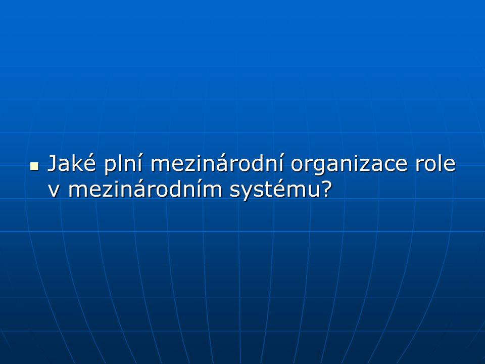 Jaké plní mezinárodní organizace role v mezinárodním systému