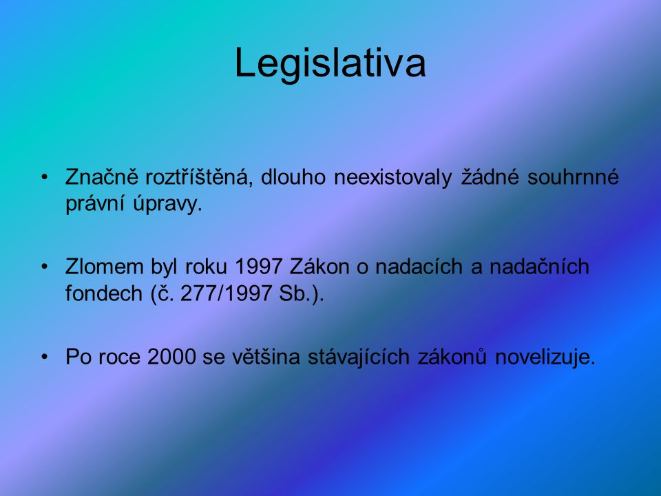 Legislativa Značně roztříštěná, dlouho neexistovaly žádné souhrnné právní úpravy.
