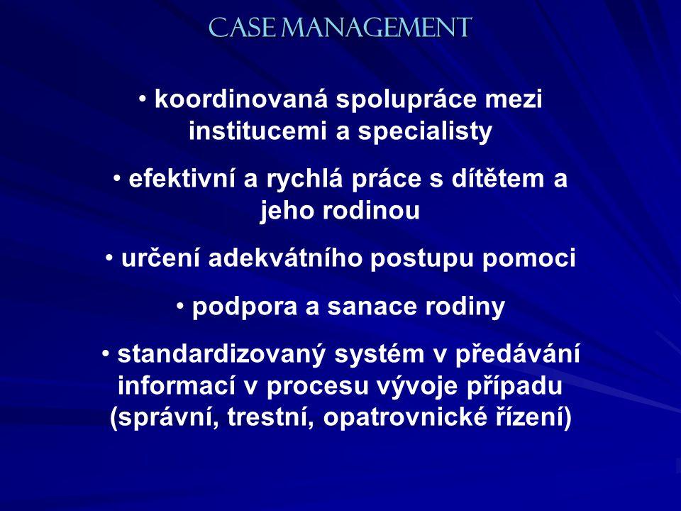koordinovaná spolupráce mezi institucemi a specialisty