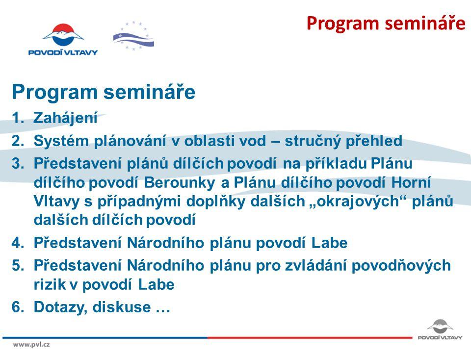 Program semináře Program semináře 1. Zahájení
