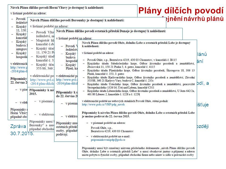 Plány dílčích povodí - zveřejnění návrhů plánů