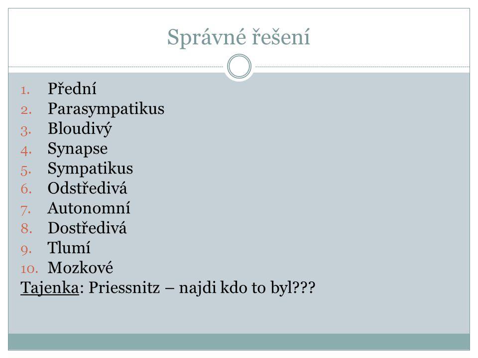 Správné řešení Přední Parasympatikus Bloudivý Synapse Sympatikus
