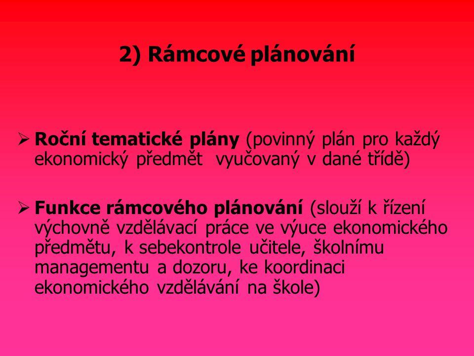2) Rámcové plánování Roční tematické plány (povinný plán pro každý ekonomický předmět vyučovaný v dané třídě)