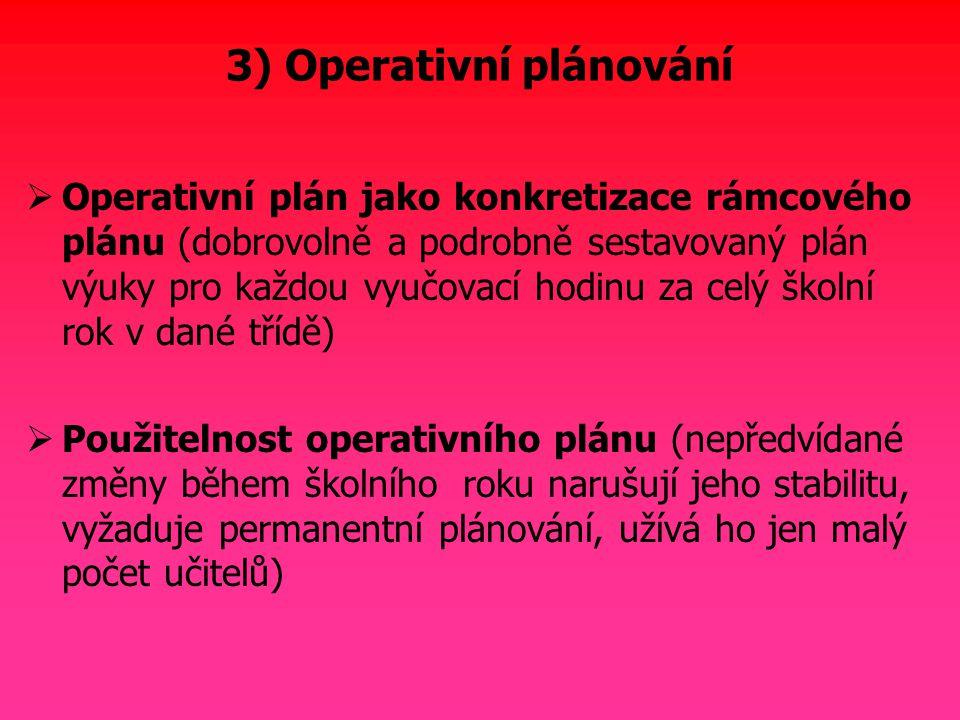 3) Operativní plánování