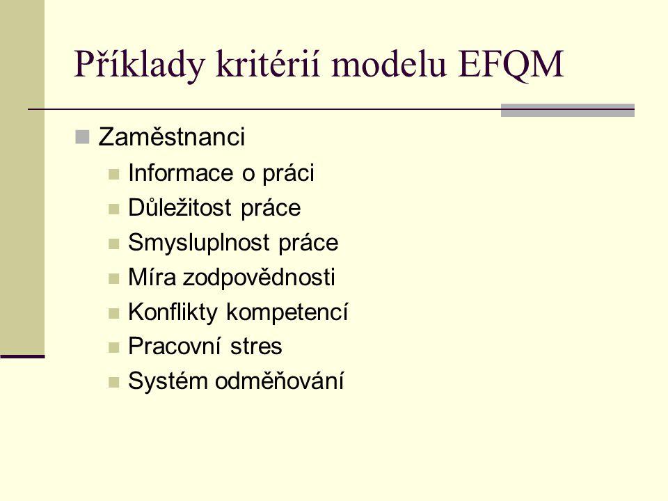 Příklady kritérií modelu EFQM