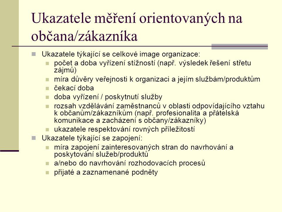 Ukazatele měření orientovaných na občana/zákazníka