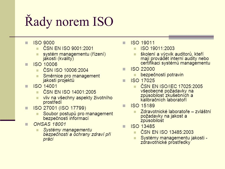 Řady norem ISO ISO 9000 ISO 10006 ISO 14001 ISO 27001 (ISO 17799)