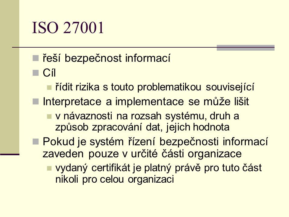 ISO 27001 řeší bezpečnost informací Cíl