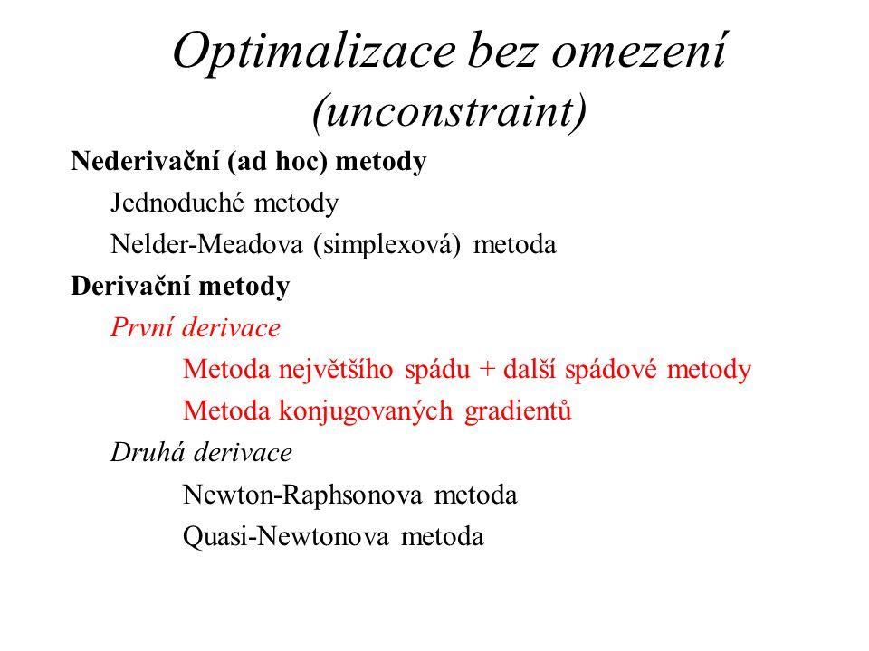Optimalizace bez omezení (unconstraint)
