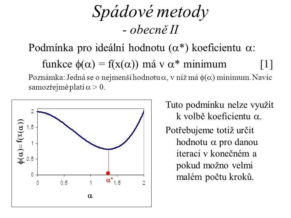 Spádové metody - obecně II