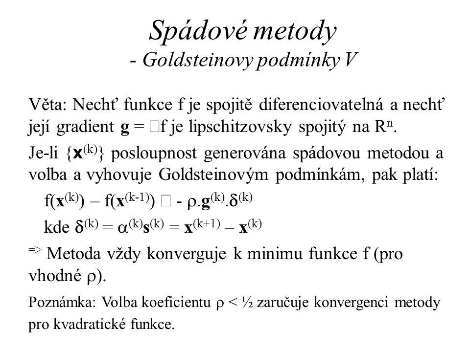 Spádové metody - Goldsteinovy podmínky V