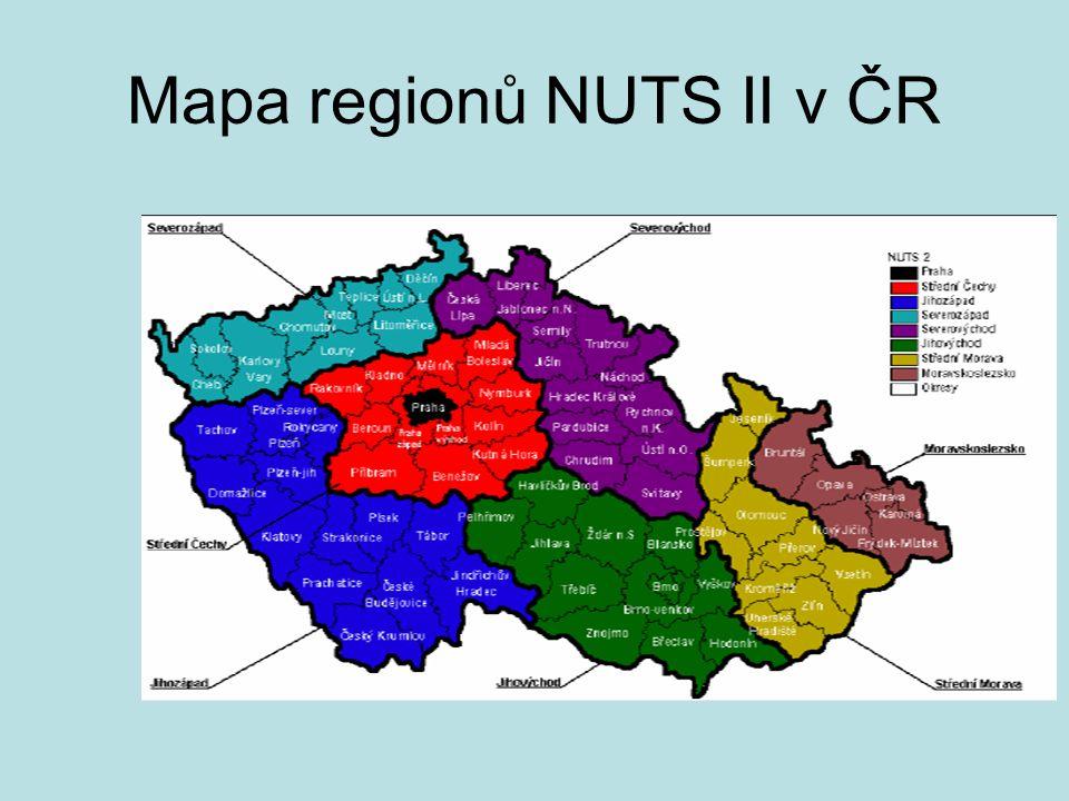 Mapa regionů NUTS II v ČR