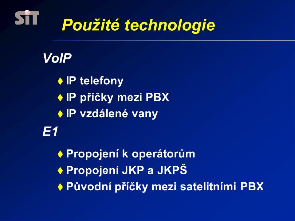 Použité technologie VoIP E1 IP telefony IP příčky mezi PBX