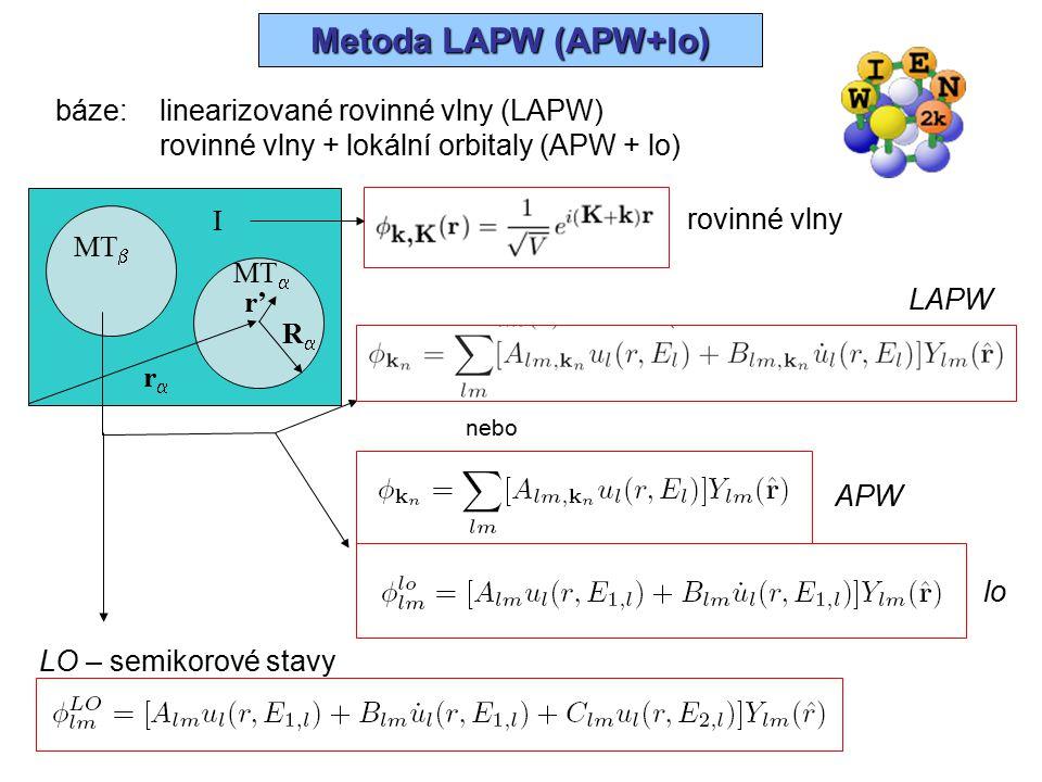 Metoda LAPW (APW+lo) báze: linearizované rovinné vlny (LAPW)