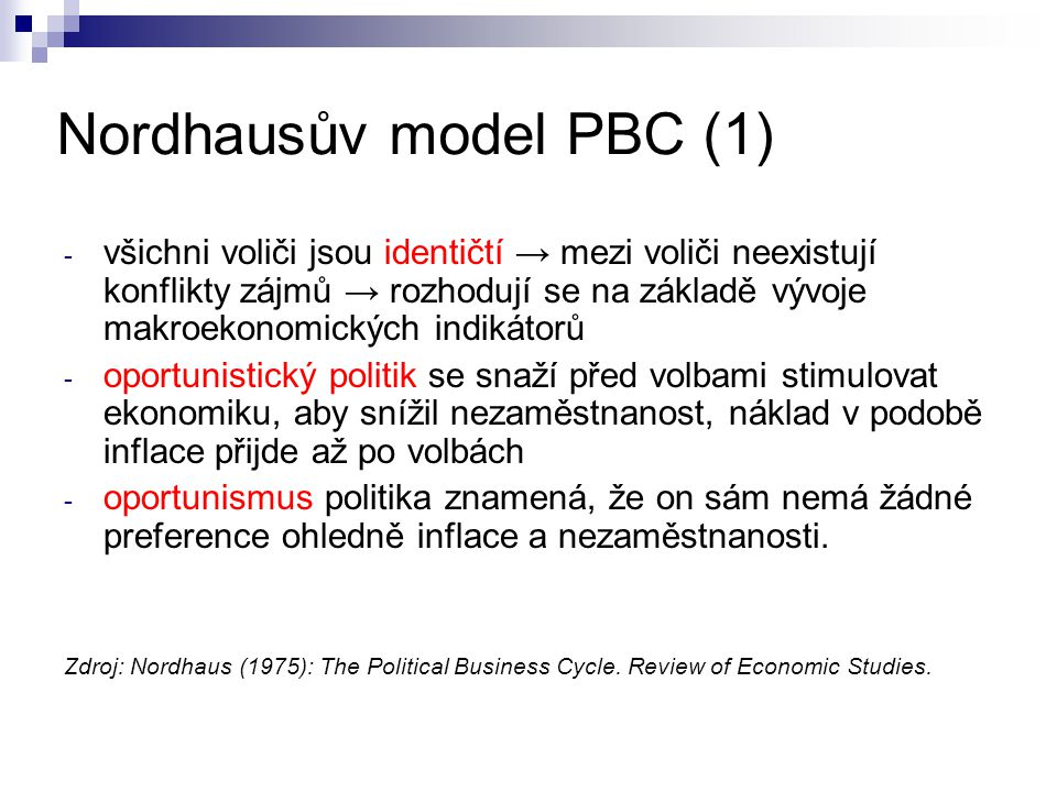 Nordhausův model PBC (1)