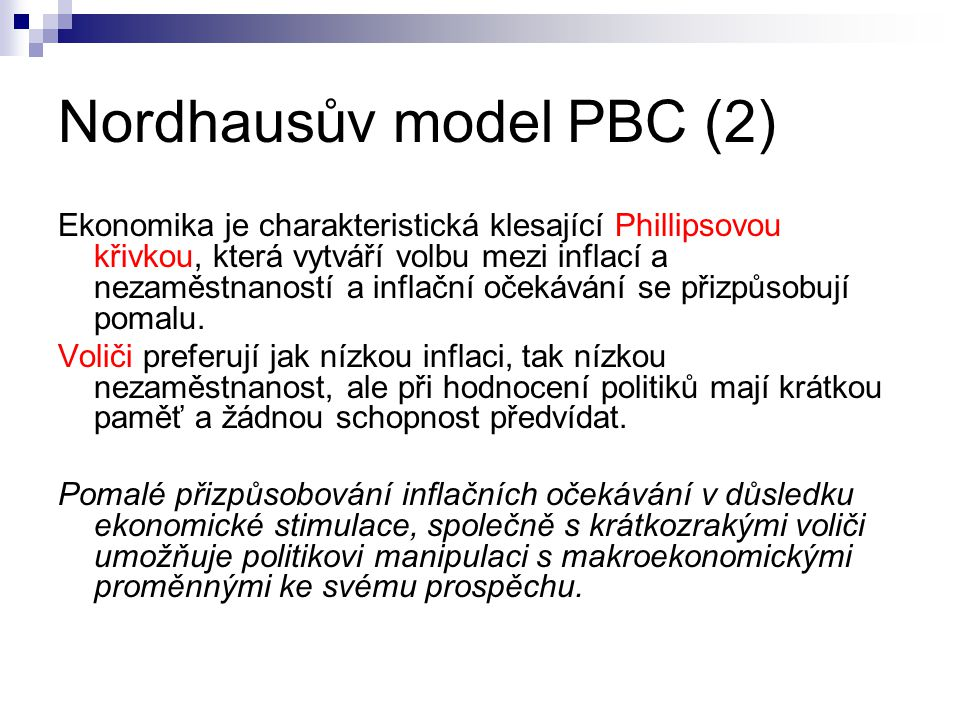 Nordhausův model PBC (2)