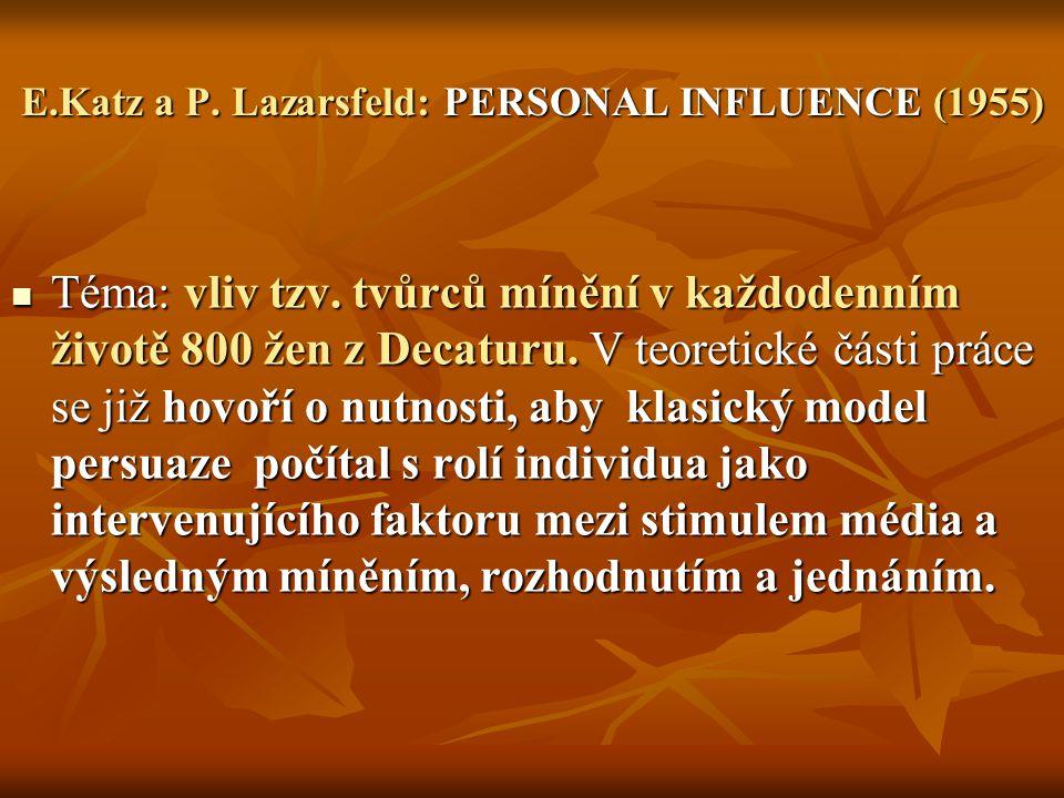 E.Katz a P. Lazarsfeld: PERSONAL INFLUENCE (1955)