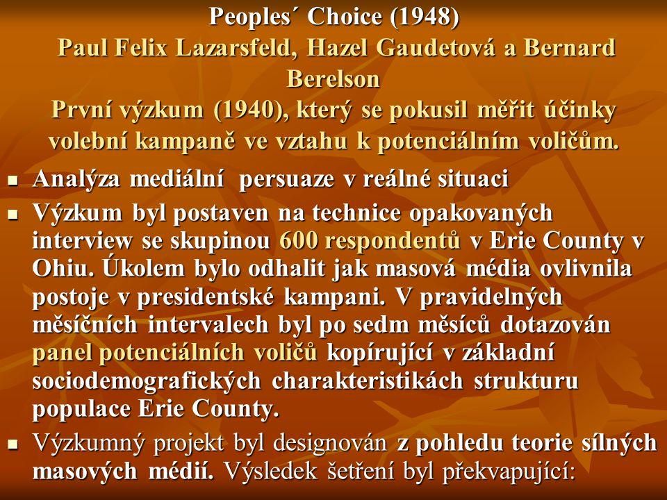Peoples´ Choice (1948) Paul Felix Lazarsfeld, Hazel Gaudetová a Bernard Berelson První výzkum (1940), který se pokusil měřit účinky volební kampaně ve vztahu k potenciálním voličům.