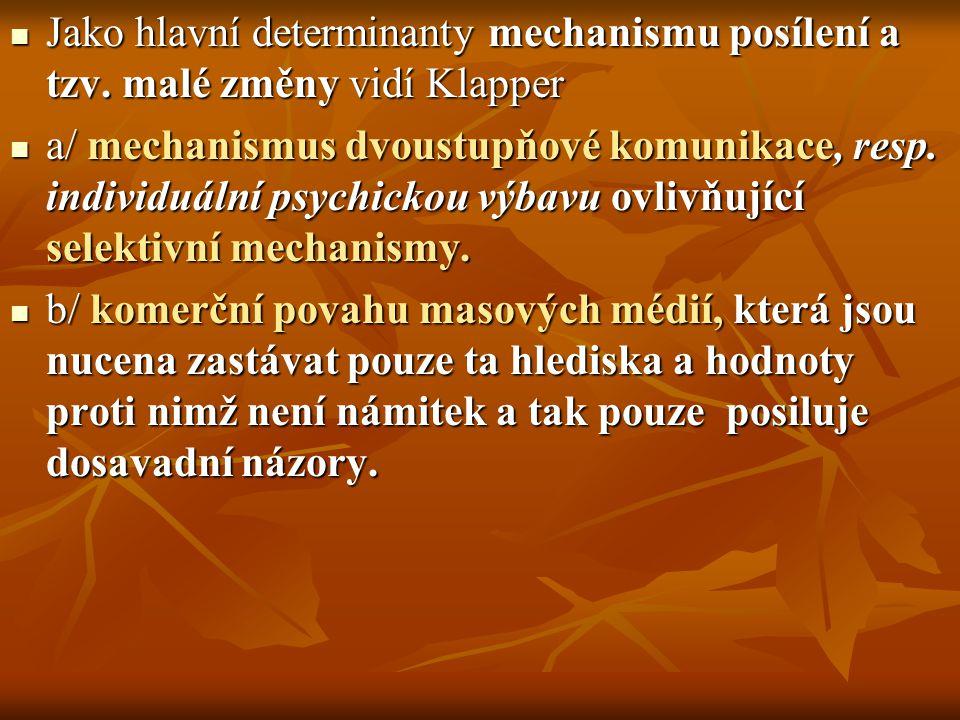 Jako hlavní determinanty mechanismu posílení a tzv