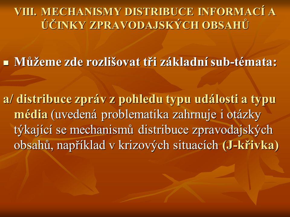VIII. MECHANISMY DISTRIBUCE INFORMACÍ A ÚČINKY ZPRAVODAJSKÝCH OBSAHŮ
