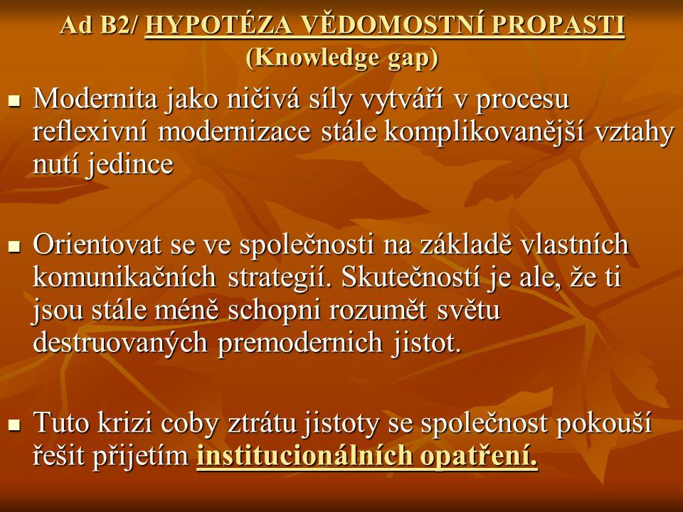 Ad B2/ HYPOTÉZA VĚDOMOSTNÍ PROPASTI (Knowledge gap)