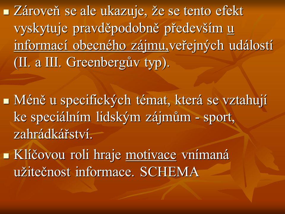 Zároveň se ale ukazuje, že se tento efekt vyskytuje pravděpodobně především u informací obecného zájmu,veřejných událostí (II. a III. Greenbergův typ).