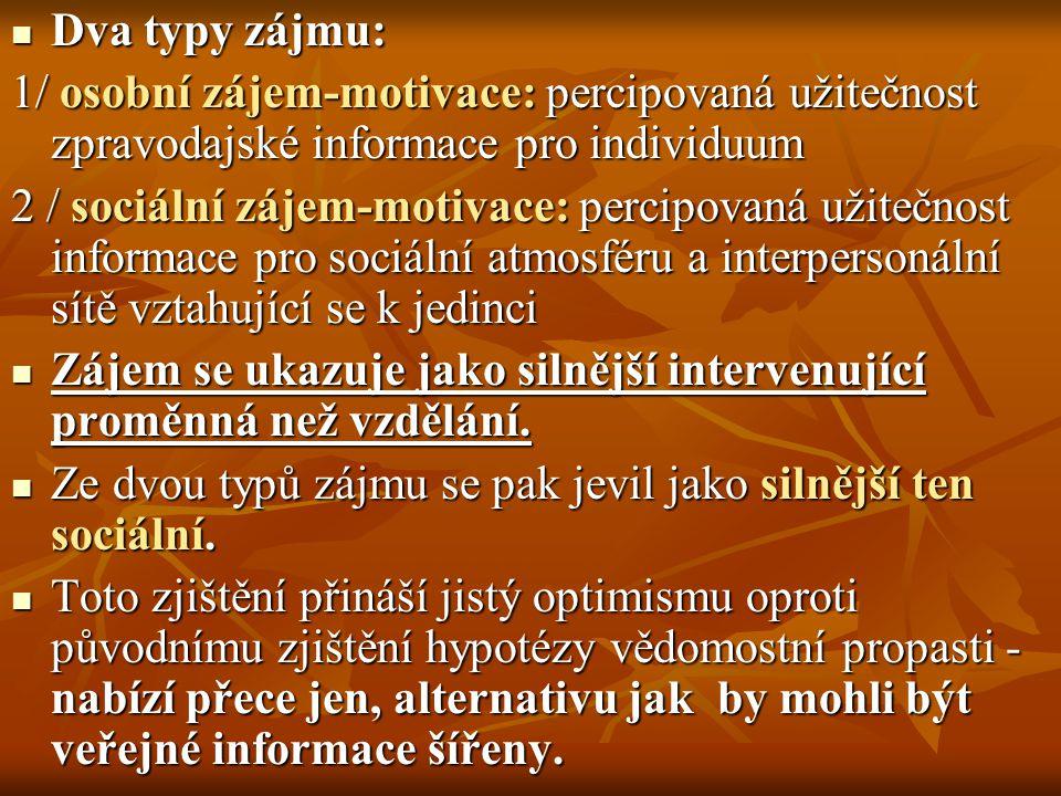 Dva typy zájmu: 1/ osobní zájem-motivace: percipovaná užitečnost zpravodajské informace pro individuum.
