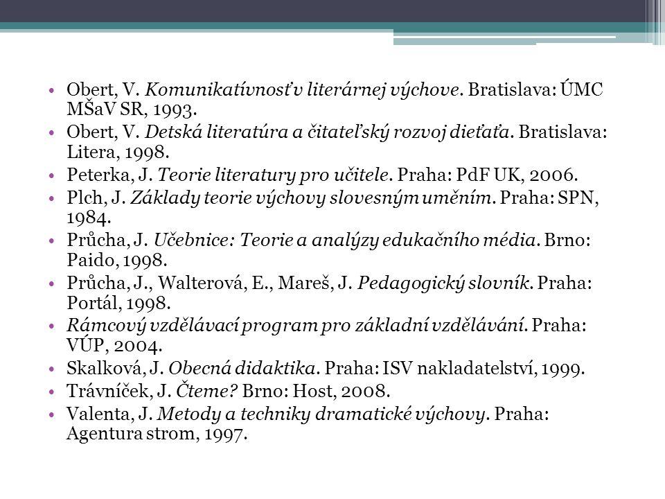 Obert, V. Komunikatívnosť v literárnej výchove