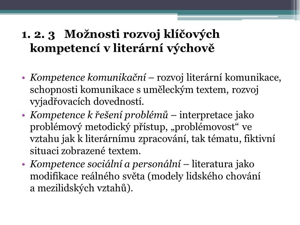 1. 2. 3 Možnosti rozvoj klíčových kompetencí v literární výchově