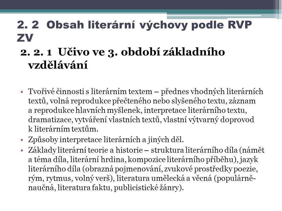 2. 2 Obsah literární výchovy podle RVP ZV