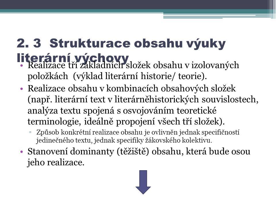 2. 3 Strukturace obsahu výuky literární výchovy