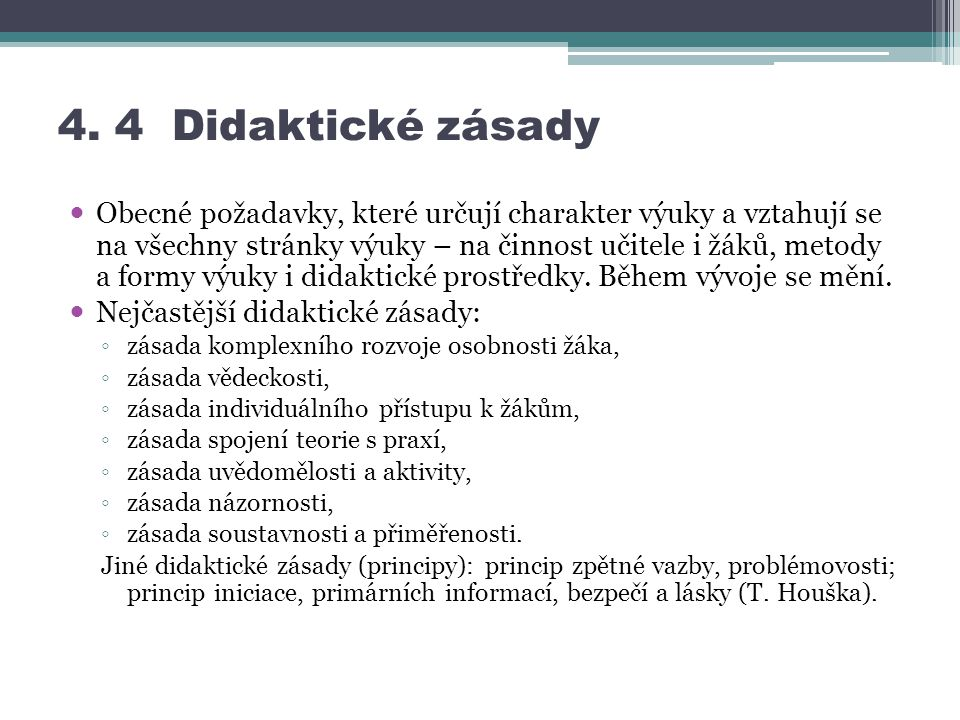 4. 4 Didaktické zásady
