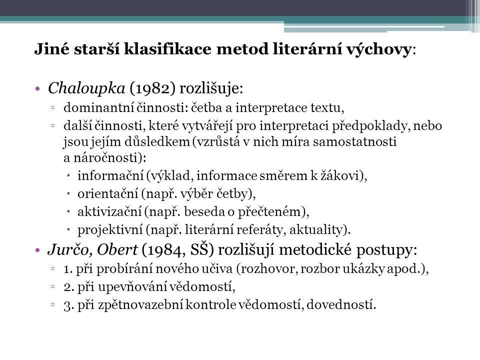 Jiné starší klasifikace metod literární výchovy:
