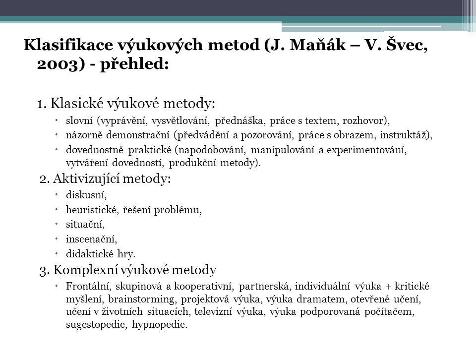 Klasifikace výukových metod (J. Maňák – V. Švec, 2003) - přehled: