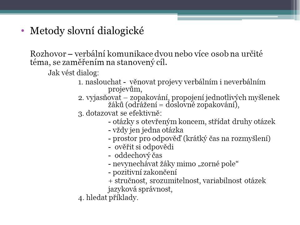 Metody slovní dialogické
