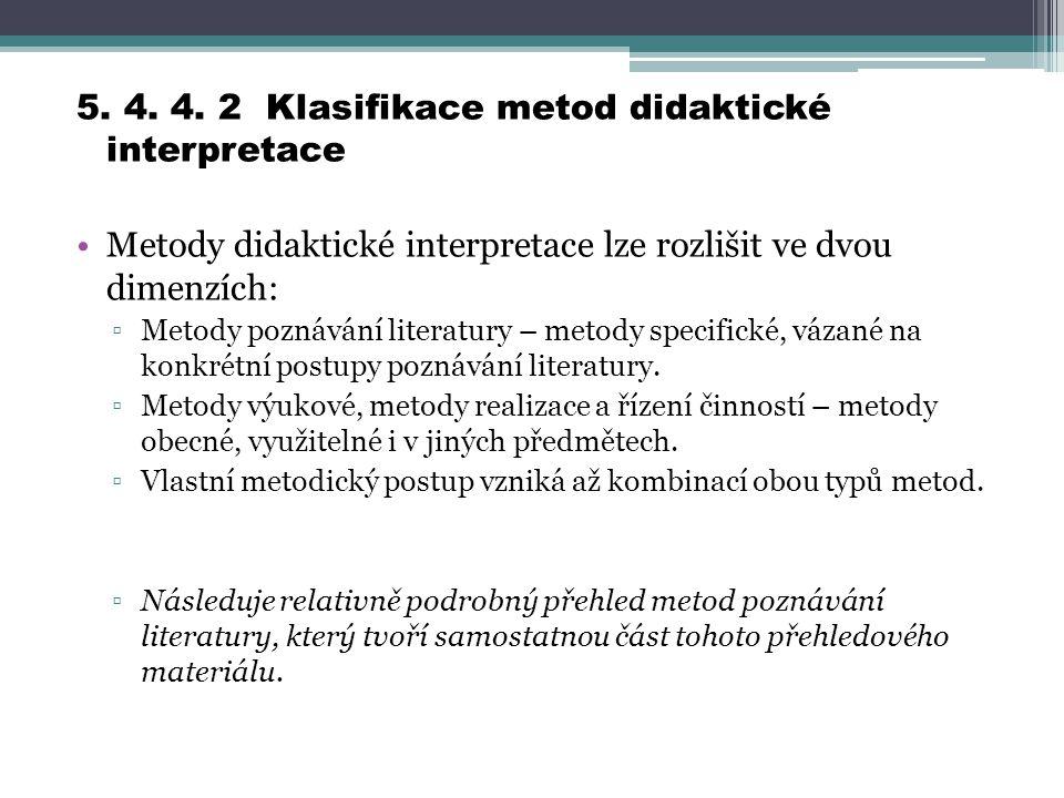 5. 4. 4. 2 Klasifikace metod didaktické interpretace