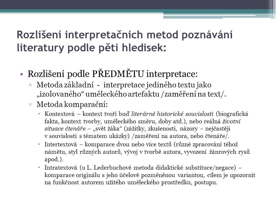 Rozlišení interpretačních metod poznávání literatury podle pěti hledisek:
