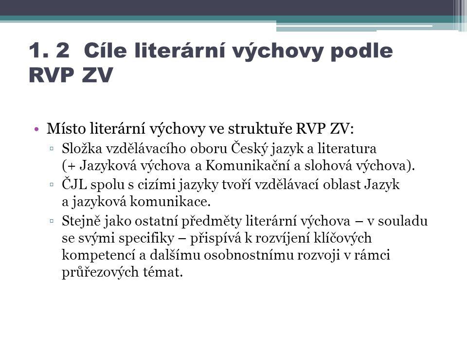 1. 2 Cíle literární výchovy podle RVP ZV