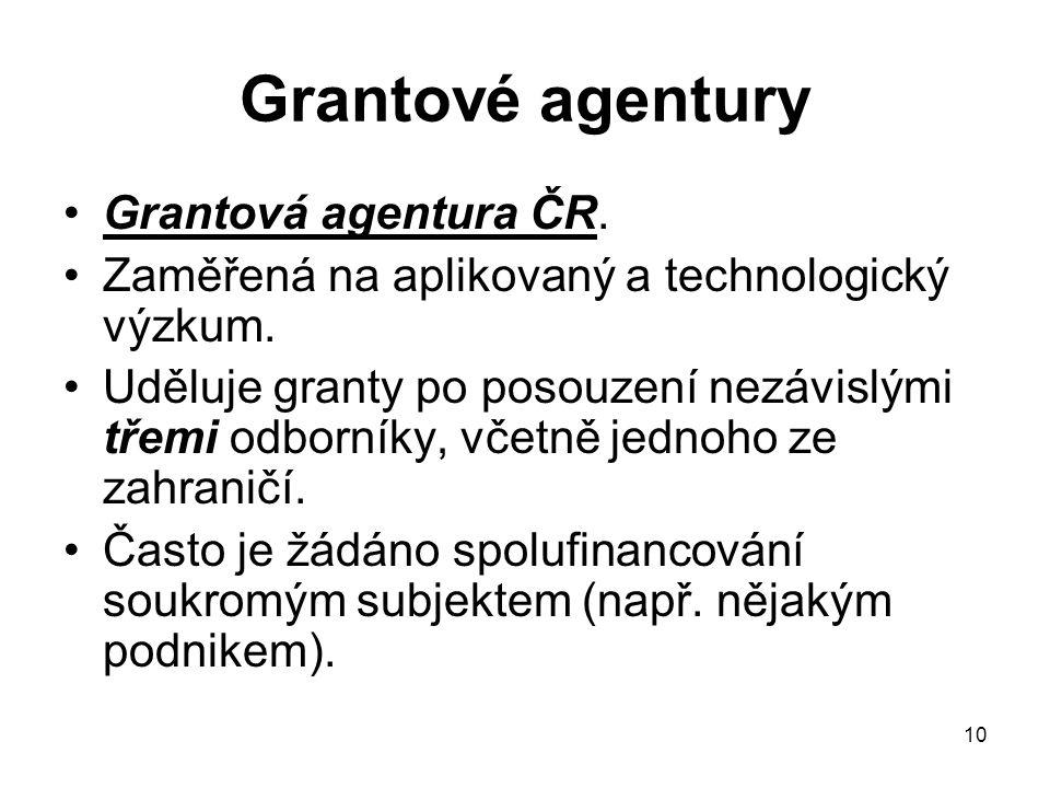 Grantové agentury Grantová agentura ČR.