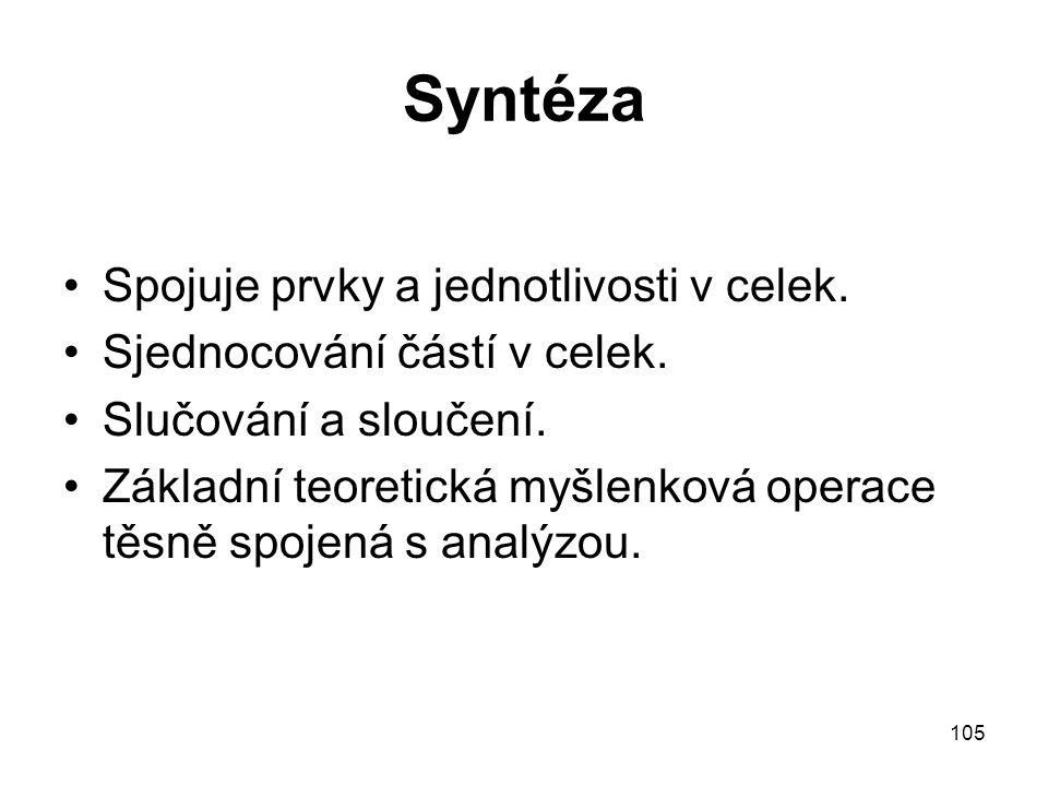 Syntéza Spojuje prvky a jednotlivosti v celek.