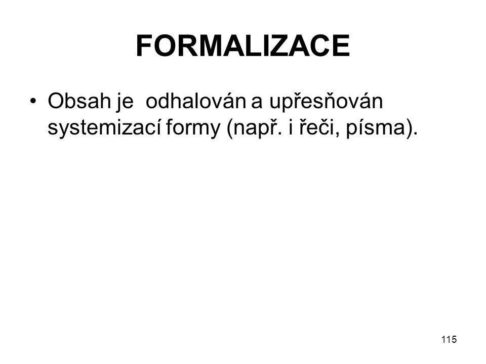 FORMALIZACE Obsah je odhalován a upřesňován systemizací formy (např. i řeči, písma).