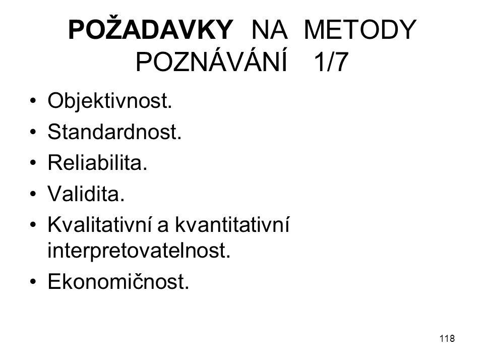 POŽADAVKY NA METODY POZNÁVÁNÍ 1/7
