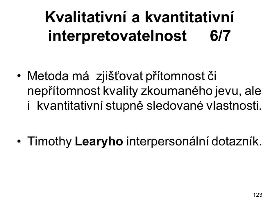 Kvalitativní a kvantitativní interpretovatelnost 6/7