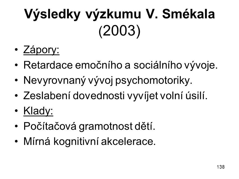 Výsledky výzkumu V. Smékala (2003)