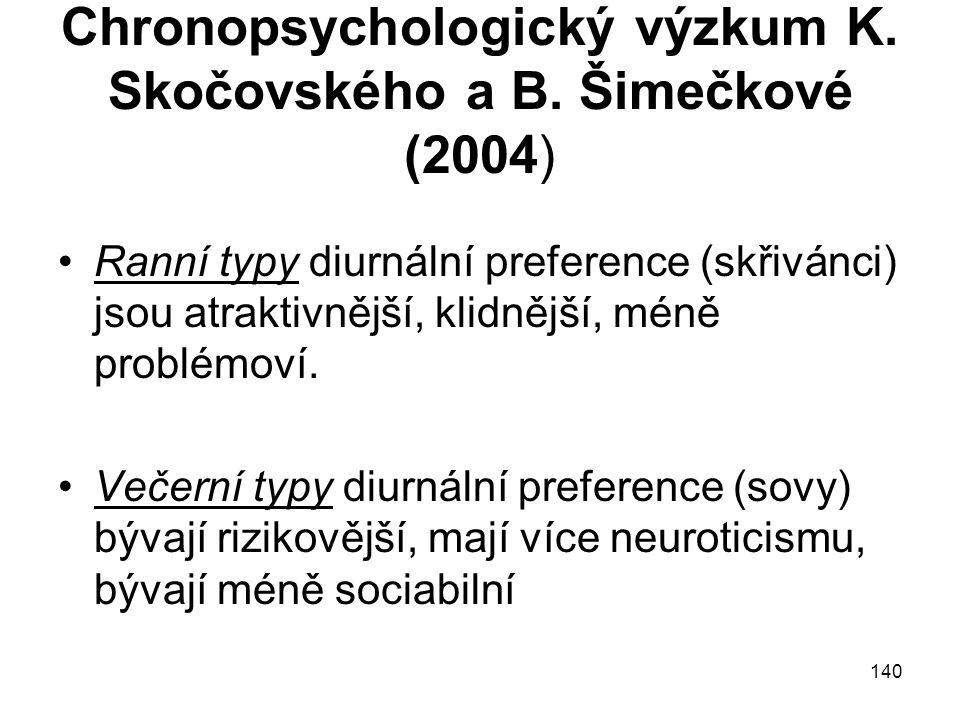 Chronopsychologický výzkum K. Skočovského a B. Šimečkové (2004)