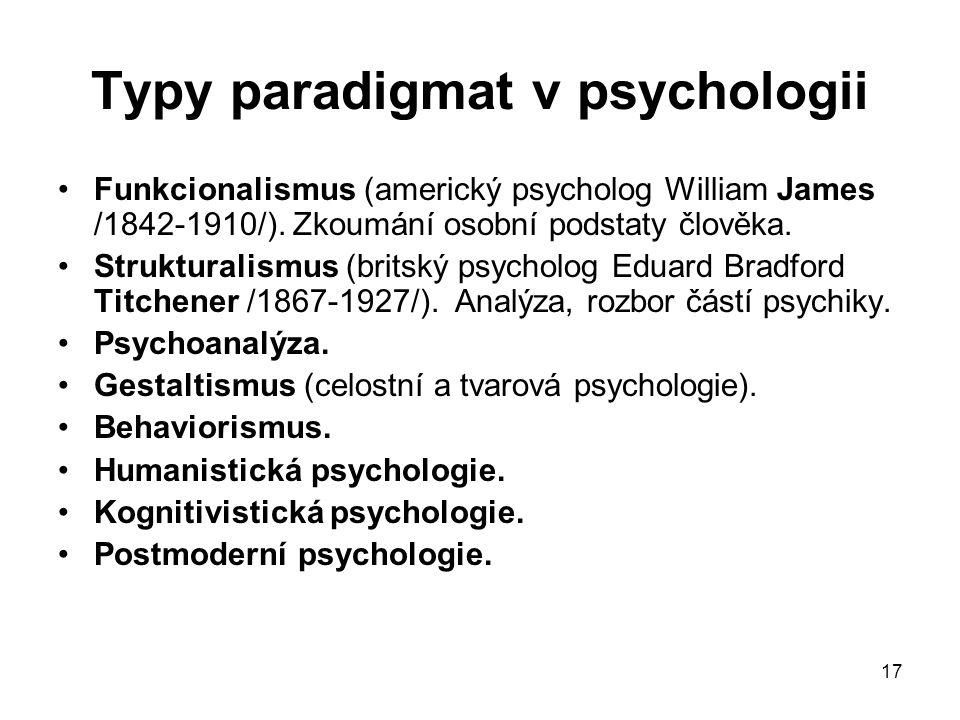 Typy paradigmat v psychologii