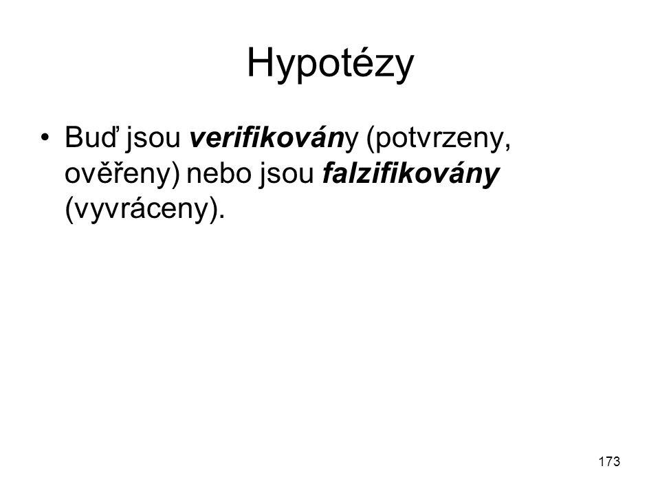 Hypotézy Buď jsou verifikovány (potvrzeny, ověřeny) nebo jsou falzifikovány (vyvráceny).